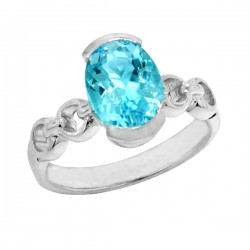 Sterling silver oval blue topaz