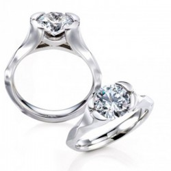 MaeVona 18Kw Ensay Ring Semi-Mount Solitaire Engagement Ring