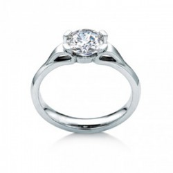 MaeVona 18K White Gold Eorsa Semi-Mount Solitaire Engagement Ring
