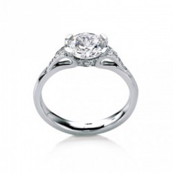 MaeVona 18Ky Eorsa/Pave Ring Semi-Mount Solitaire Engagement Ring