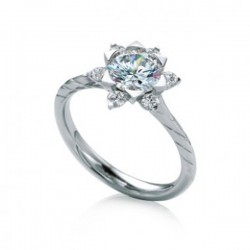 MaeVona 18Kw Mallow Engagement Ring