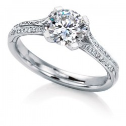 MaeVona 18Kw Oronsay Pave Setting Semi-Mount Solitaire Engagement Ring