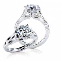 MaeVona 18Kw Rona Ring Semi-Mount Solitaire Engagement Ring