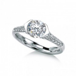 MaeVona 18Kw Rora Pave Semi-Mount Solitaire Engagement Ring