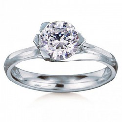 MaeVona 18Kw Rousay Ring Semi-Mount Solitaire Engagement Ring