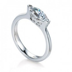 MaeVona 18Kw Skye Ring Semi-Mount Solitaire Engagement Ring