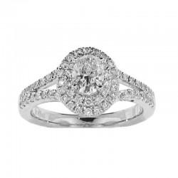 14KW 0.47CT OVAL Diamond Center Double Halo, SIZE 6