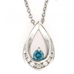 14 Kw Blue & White Diamond Teardrop Necklace 1Bd=.17Ct Wd=.10Ct