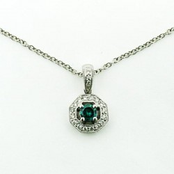 14KW ANTIQUE STYLE WHT/BLUE DIAMOND PENDANT .20CT TW