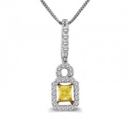 18KW/Y P/C YELLOW DIA CENTER PENDANT .28CT Y/.22CT TW WHT