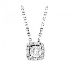 0.61cttw, cd=0.35ct rd diamond with halo pendant