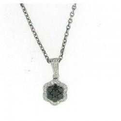 0.28cttw black diamond flower w/ halo pendant