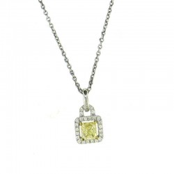 1.03cttw 0.83ct yellow ctr diamond pendant