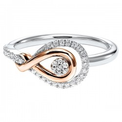 Diamond Swirling Cluster Love Knot Ring in 14k Yellow Gold &  Sterling Silver  (⅙ ctw)