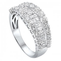 Diamond 1/4 Eternity Baguette Tapered Stackable Wedding Band in 14k White Gold (2 1/4 ctw)