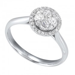 Diamond Halo Round Cluster Ring in 14k White Gold (1/4 ctw)