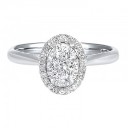 Diamond Oval Halo Cluster Ring in 14k White Gold (1/3 ctw)