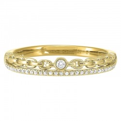 Diamond 1/4 Eternity Cable Chain Stackable Split Band in 14k Yellow Gold (1/10 ctw)