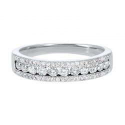 Triple Row Diamond Stackable Band in 14k White Gold (1/2ctw)