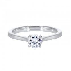 Diamond Round Classic Solitaire Engagement Ring in 14k White Gold (1/4ctw)