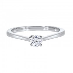 Diamond Round Classic Solitaire Engagement Ring in 14k White Gold (3/4ctw)