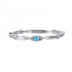 Swiss Blue Topaz Solitaire Antique Style Slender Stackable Band in 10k White Gold