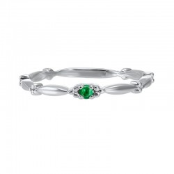 Emerald Solitaire Antique Style Slender Stackable Band in 10k White Gold