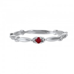 Garnet Solitaire Antique Style Slender Stackable Band in 10k White Gold