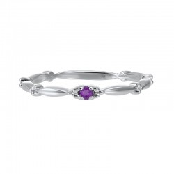 Amethyst Solitaire Antique Style Slender Stackable Band in 10k White Gold