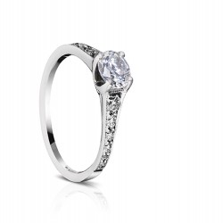 Sholdt 14K White Gold Fremont Pave Solitaire Engagement Ring Mounting