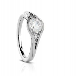 Sholdt 14K White Gold Rainier Semi Bezel Diamond Engagement Ring Mounting