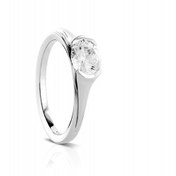 Sholdt 14K White Gold Rainier Half Bezel Solitaire Engagement Ring Mounting