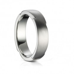 Sholdt Alternative Circles Satin Wedding Band in 14k White Gold