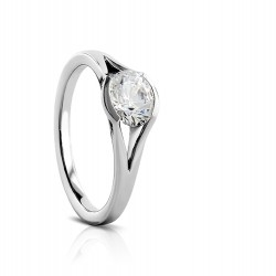 Sholdt 14K White Gold Vashon Half Bezel Solitaire Engagement Ring Mounting