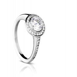 Sholdt 14K White Gold Vashon Half Bezel Princess Cut Engagement Ring Mounting