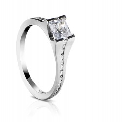 Sholdt 14K White Gold Vashon Half Bezel Princess Cut Engagement Ring Mounting