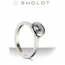 Sholdt 14K White Gold Vashon Full Bezel Solitaire Engagement Ring Mounting
