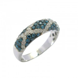 0.98cttw rd blue & white dia ring 14kw, size 7