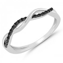 Silver Sterling Wave Black Diamond Ring