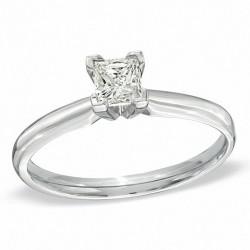 14kw 1/4CT Princess Cut Diamond Solitaire H I2