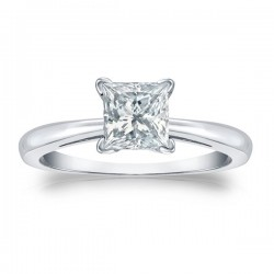 14kw 1/2CT Princess Cut Diamond Solitaire H I2