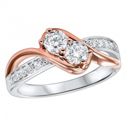 Diamond Anniversary 2-Stone Bypass Ring in 14k Two-Tone Gold (⅕ ctw)