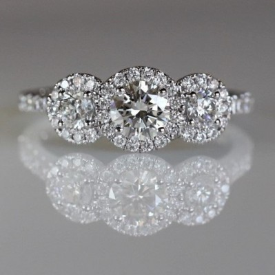 14kw 1.13Cttw Three Stone Diamond Halo Engagement Ring