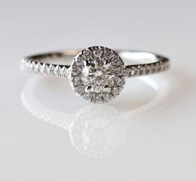 14Kw .56Cttw Round Halo Diamond Engagement Ring
