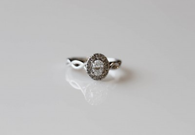 Oval Halo with Twist Shank Engagement Ring