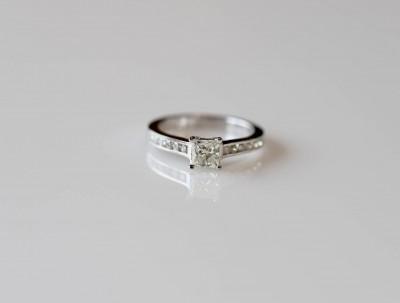 Princess Cut Channel Shank Diamond Ring