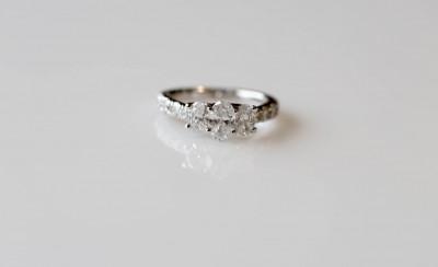 Triple Oval Diamond Engagement Ring