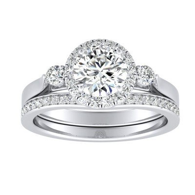 1.61CTW Round Halo Lab Grown Diamond Bridal Set