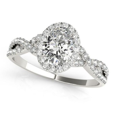1.33CTW ASTRL Lab Grown Oval Diamond Halo Ring W/Infinity Shank