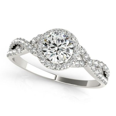 1.32CTW ASTRL Lab Grown Round Halo Diamond Engagement with Infinity Shank